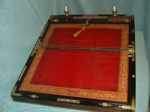 exceptional fully bound mahogany writing box - photo angle #3