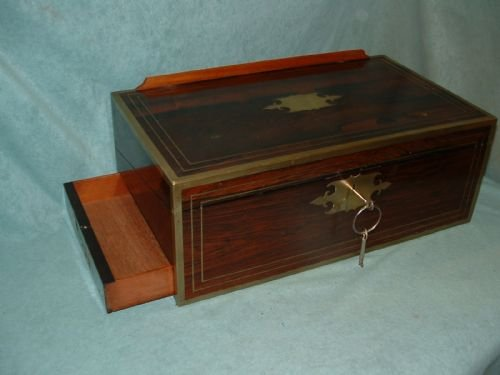 exceptional fully bound mahogany writing box - photo angle #5