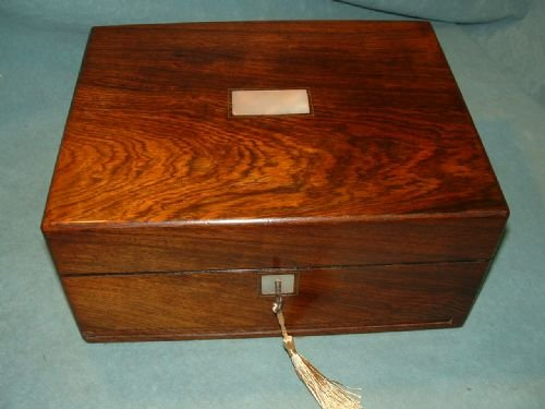 exceptional combination rosewood sewing box - photo angle #5