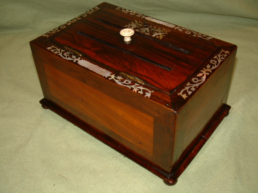 inlaid rosewood mahogany desk box c1850