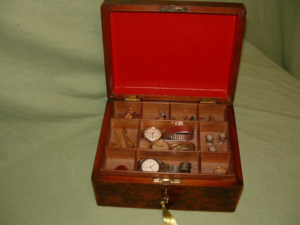 unisex burr walnut jewellery box tray c1875
