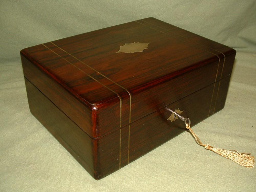 inlaid unisex rosewood jewellery box tray c1840