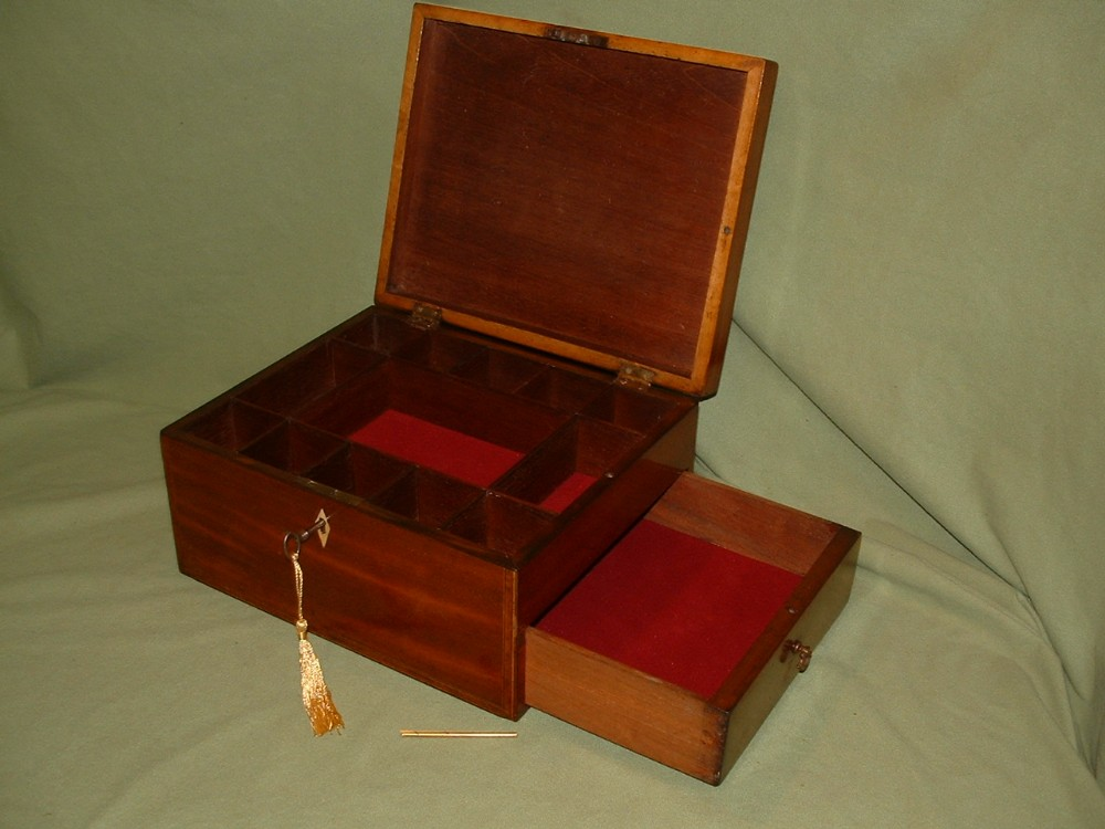 inlaid mahogany adjustable unisex jewellery box side drawer c1840