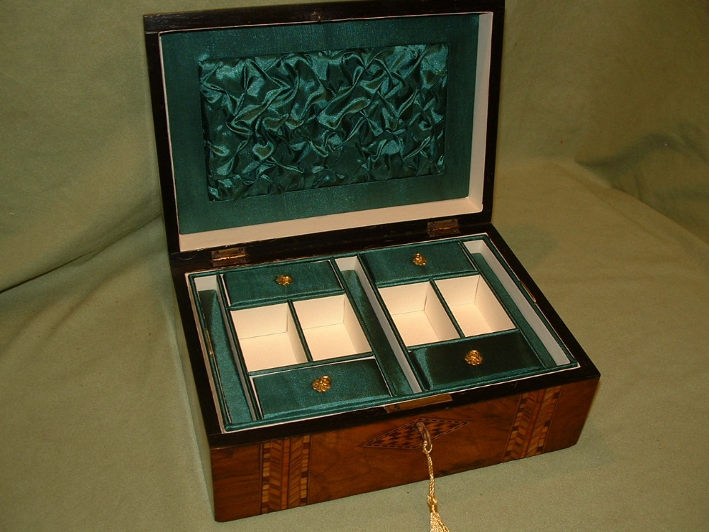 inlaid walnut jewellery box tray c1880
