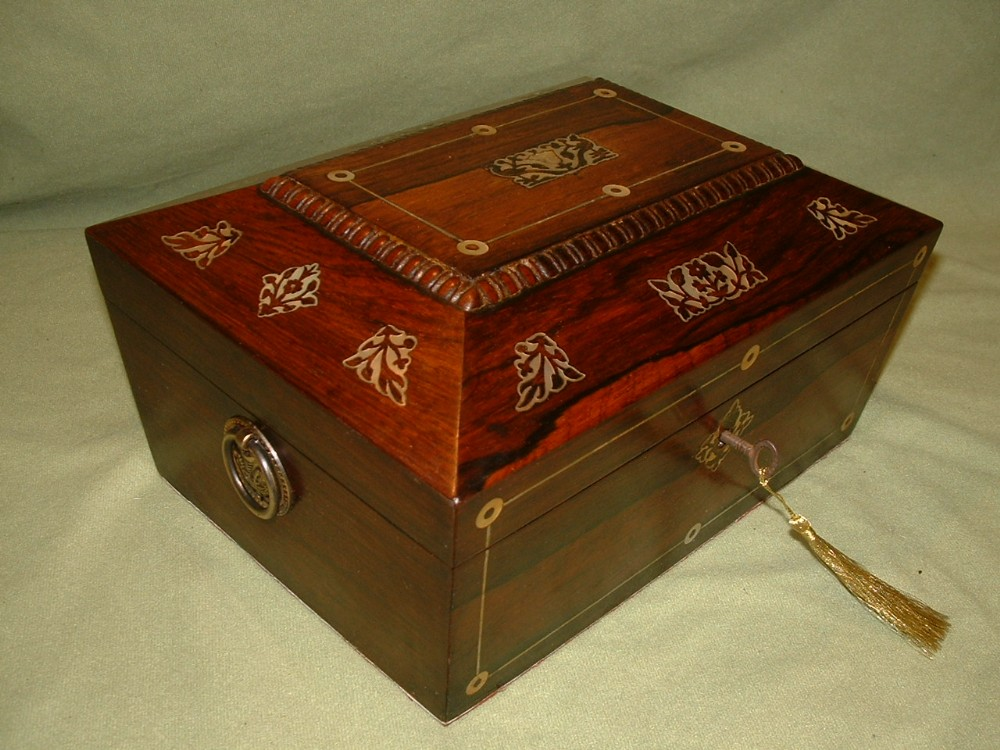 inlaid rosewood jewellery table box c1835