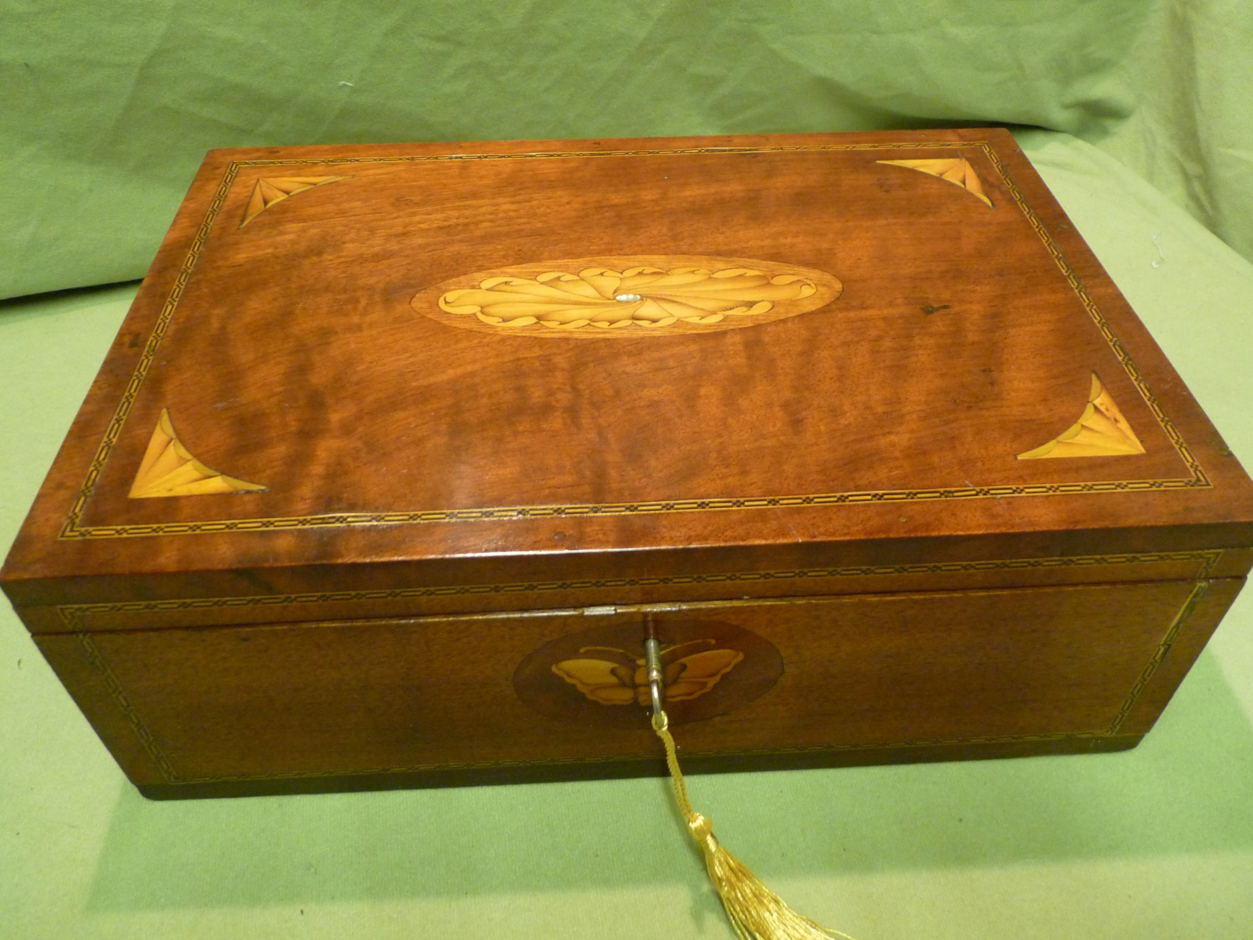 large solid mahogany inlaid jewellery table box stores a4 paper