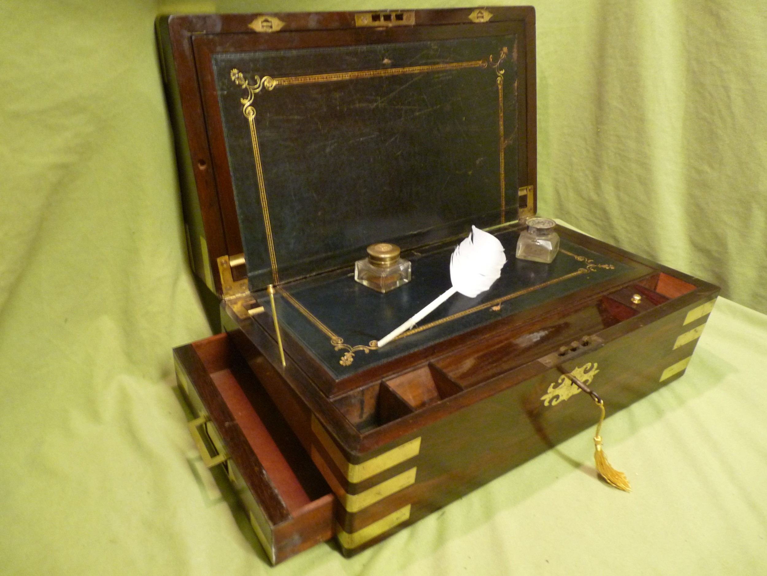 large brass bound rosewood writing box c1860