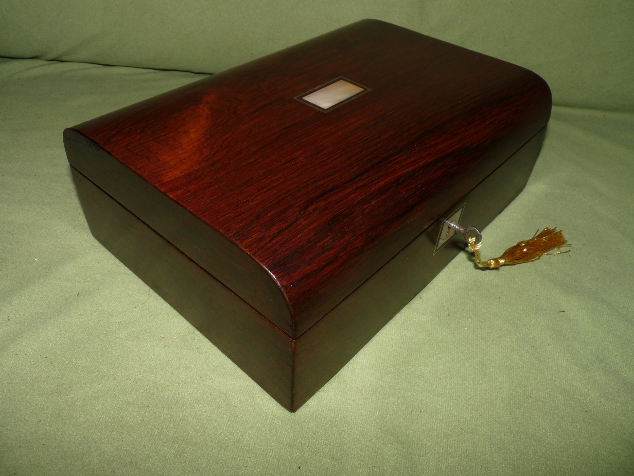 inlaid rosewood jewellery box original tray c1875
