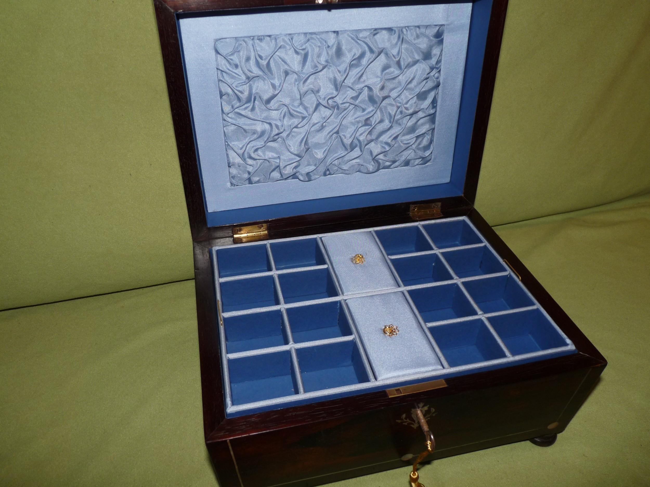 large inlaid rosewood jewellery box tray c1845