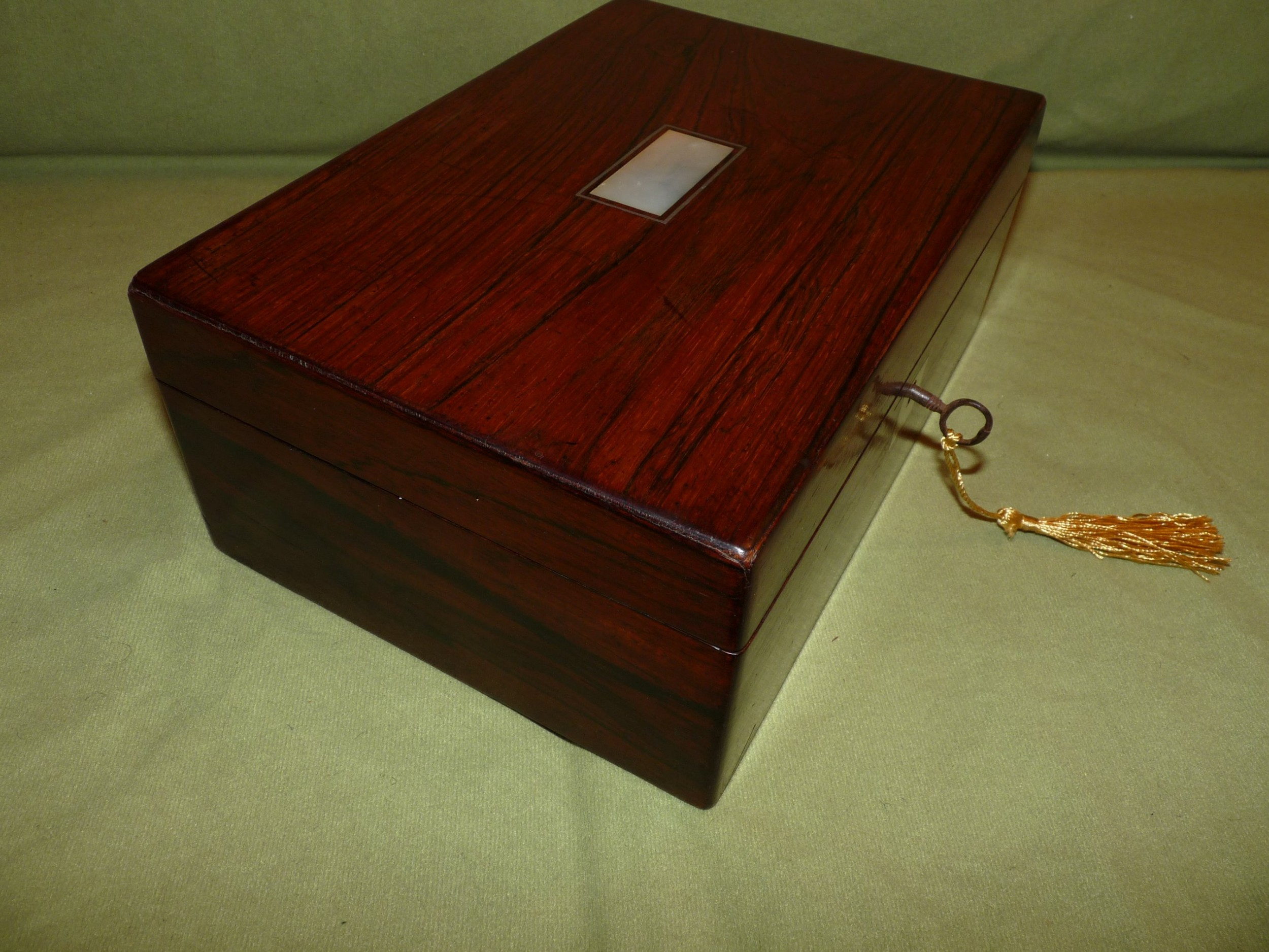 inlaid rosewood jewellery work box fitted tray c1875