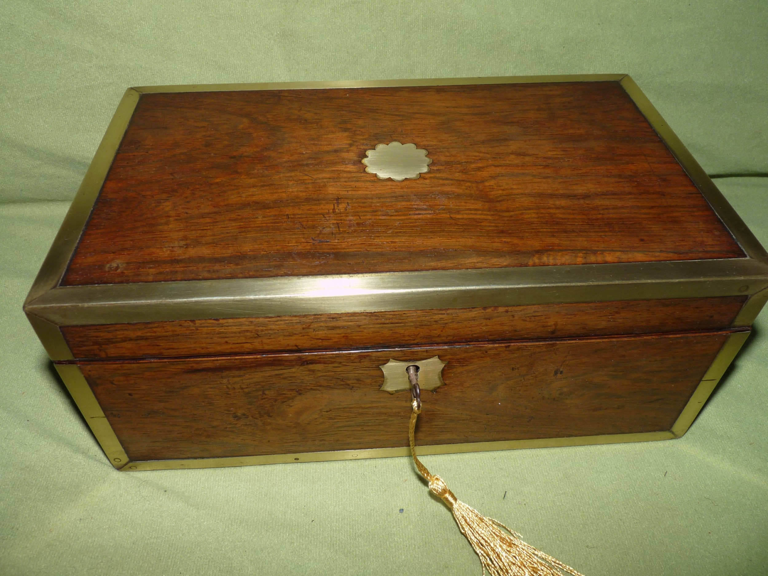 brass bound rosewood unisex jewellery box c1840