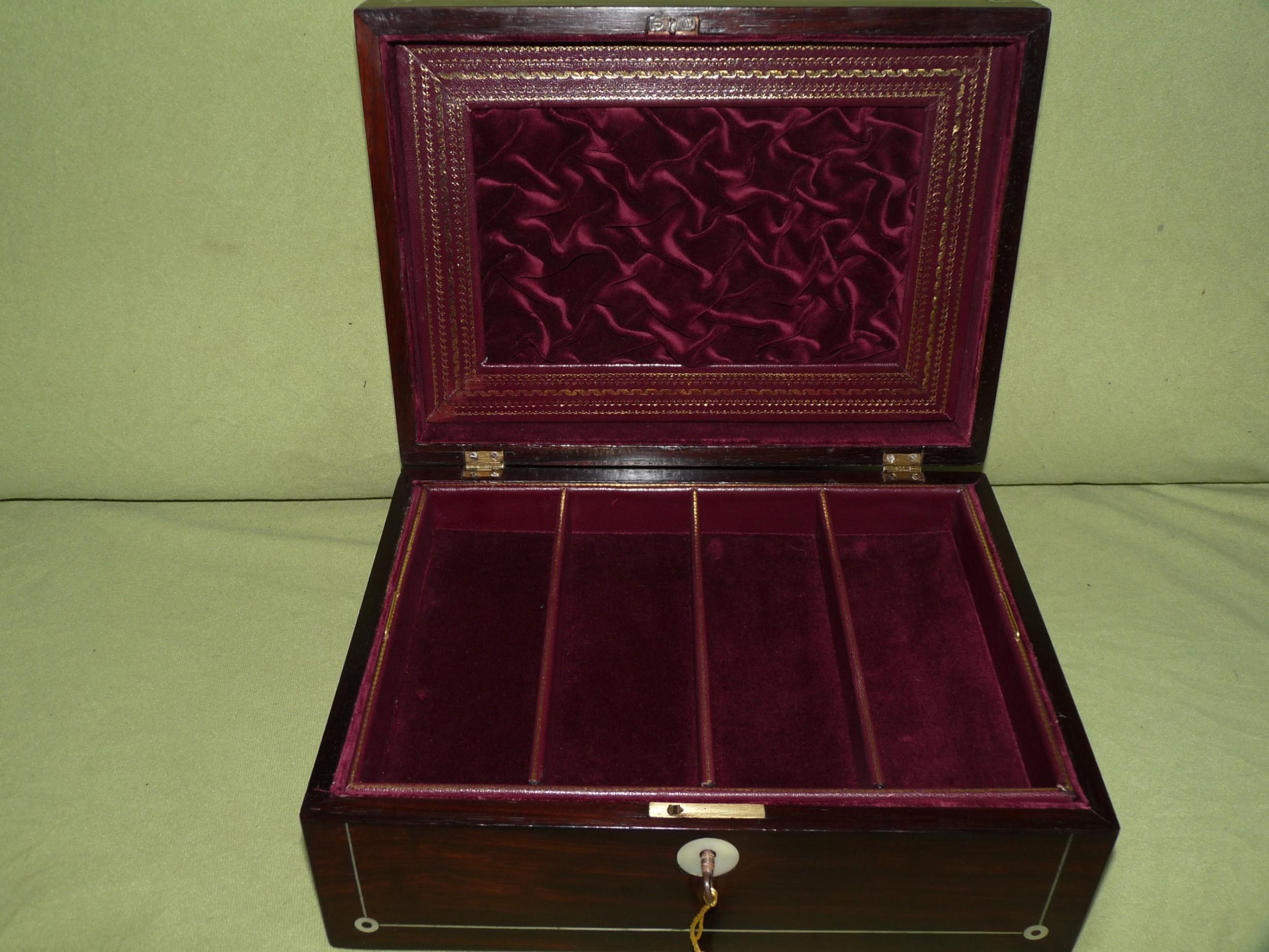 unisex inlaid rosewood jewellery box tray c1850