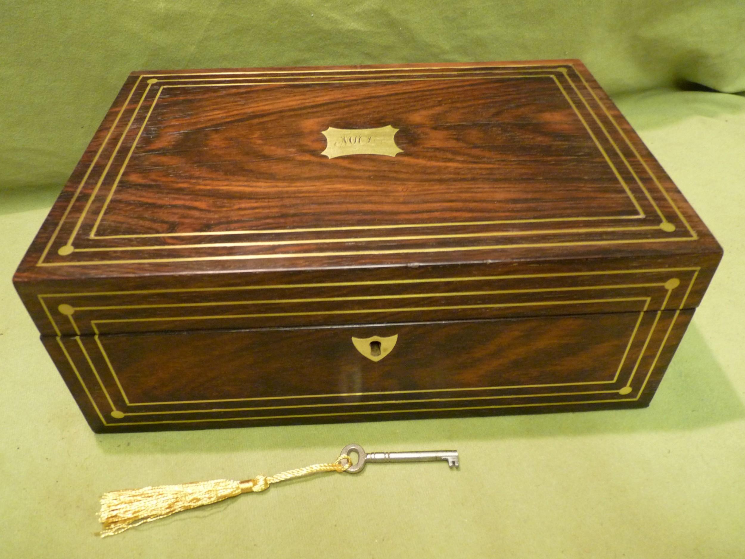 inlaid unisex rosewood jewellery box tray c1835