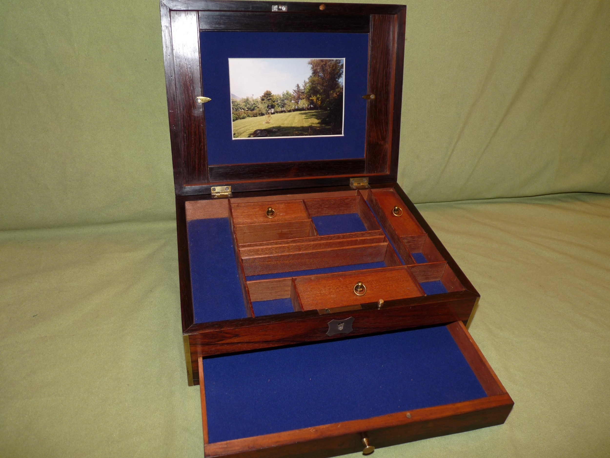 unique unisex brass bound rosewood jewellery boxc1835
