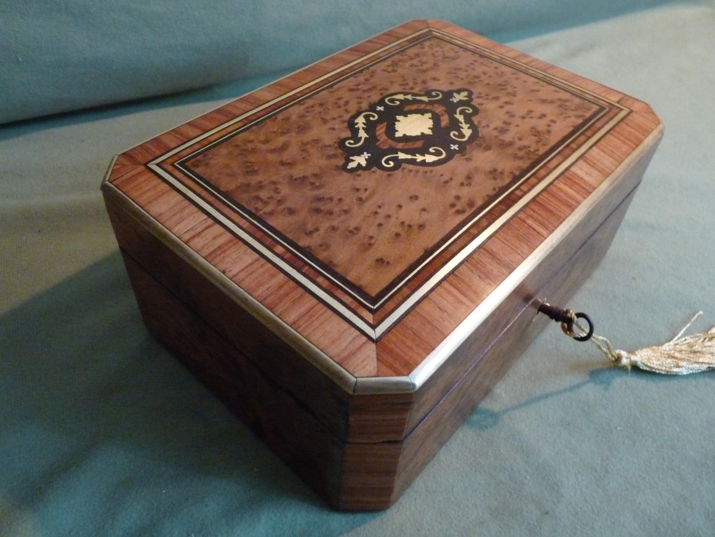french inlaid jewellery box tray c1850