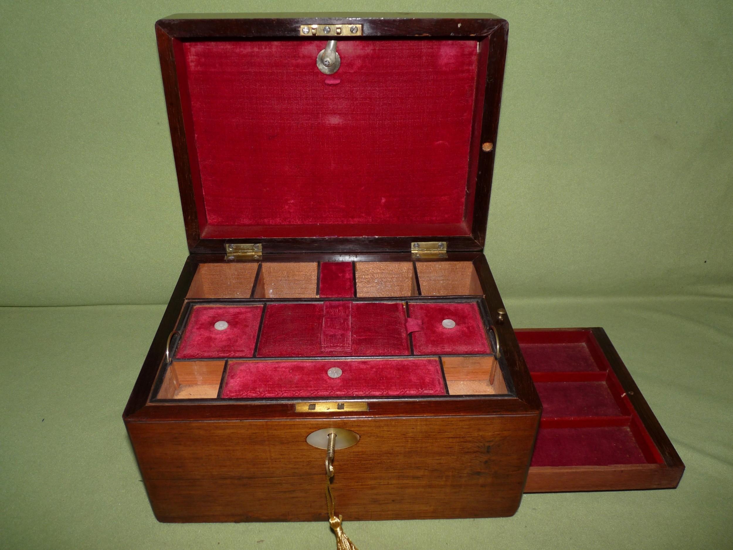 inlaid rosewood jewellery box vanity box c1875