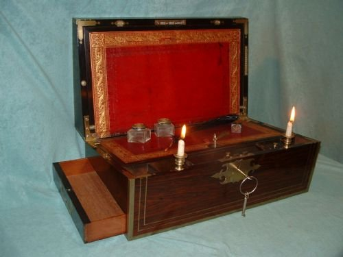 exceptional fully bound mahogany writing box