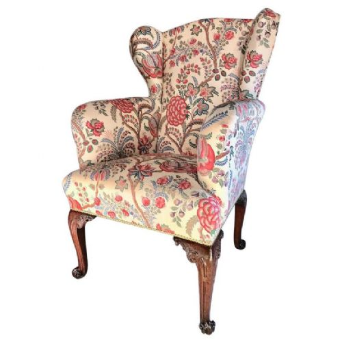 fine george ii carved mahogany wing armchair