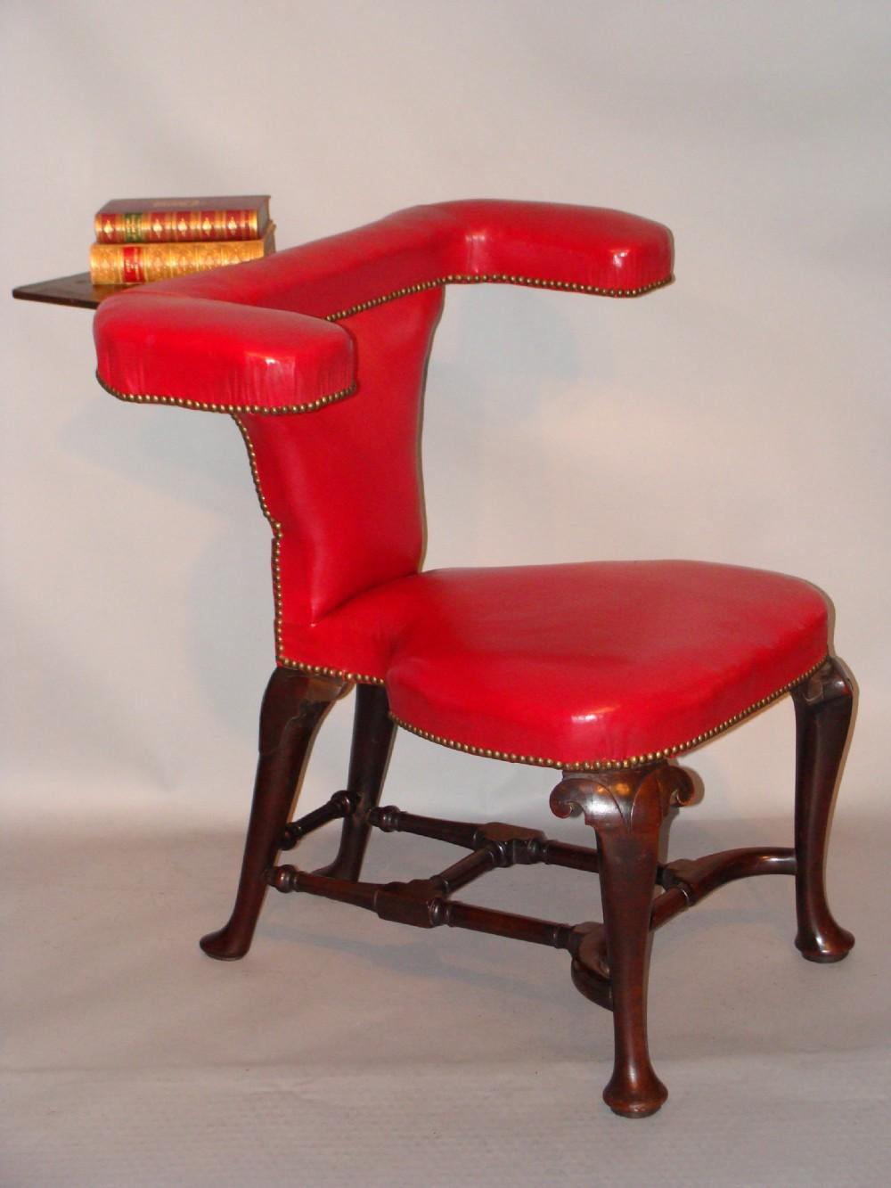 antique english mahogany reading library 'cockfighting' chair ca 172025 - Antique English Mahogany Reading/ Library/ 'cockfighting' Chair. Ca