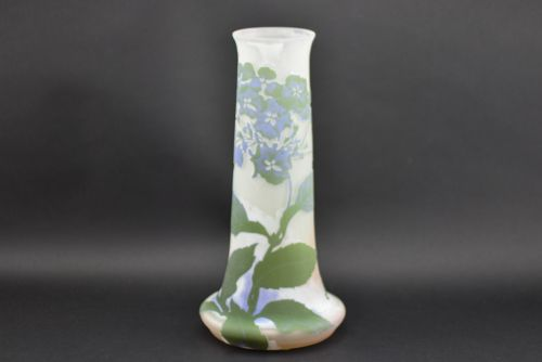 large galle cameo glass hydrangea vase c1900 13 inches