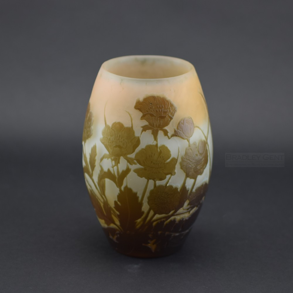 galle cameo glass poppy vase c1900