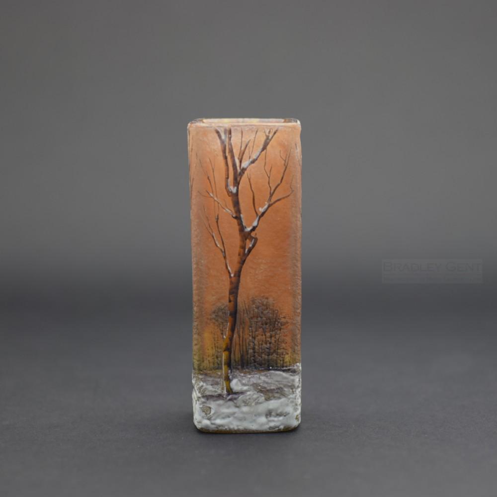 daum enameled acid etched winter scene vase c1900