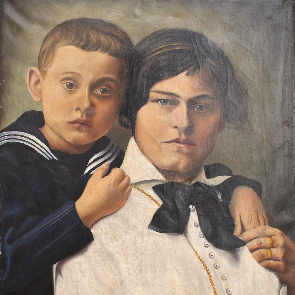 3b80795c991b F Plossl, Mother And Child, Original Oil Painting, Mid-century ...