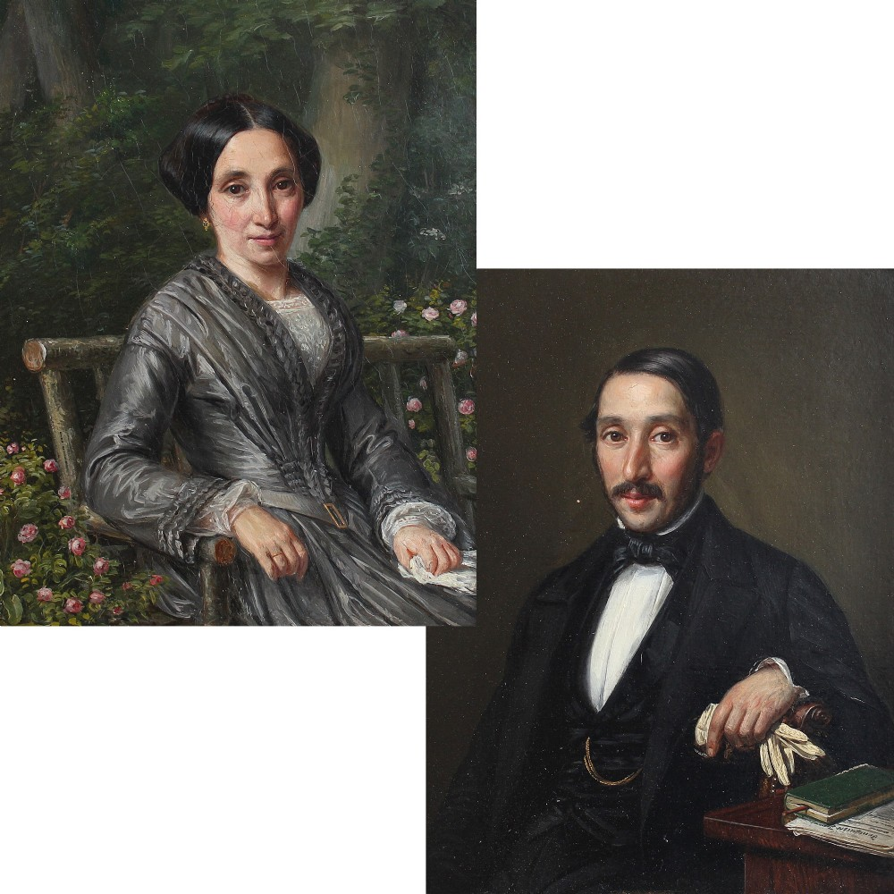pair of original portraits oil painting 19th century art french small