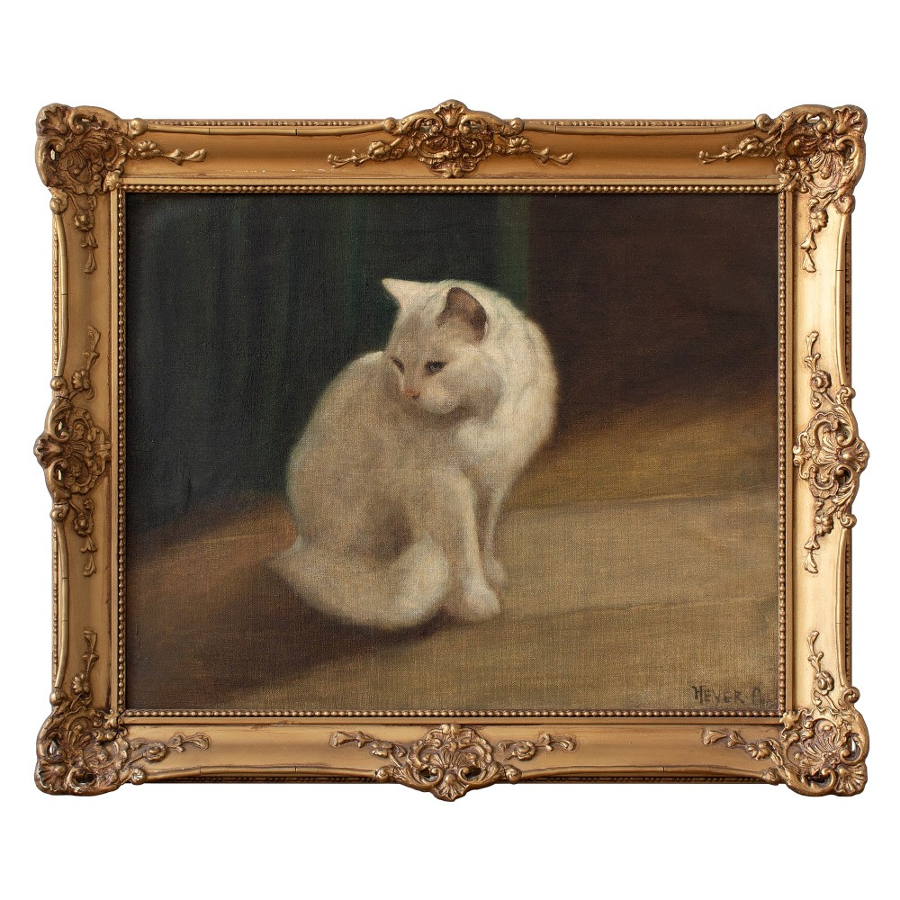 early 20th century oil painting arthur heyer portrait of a persian cat