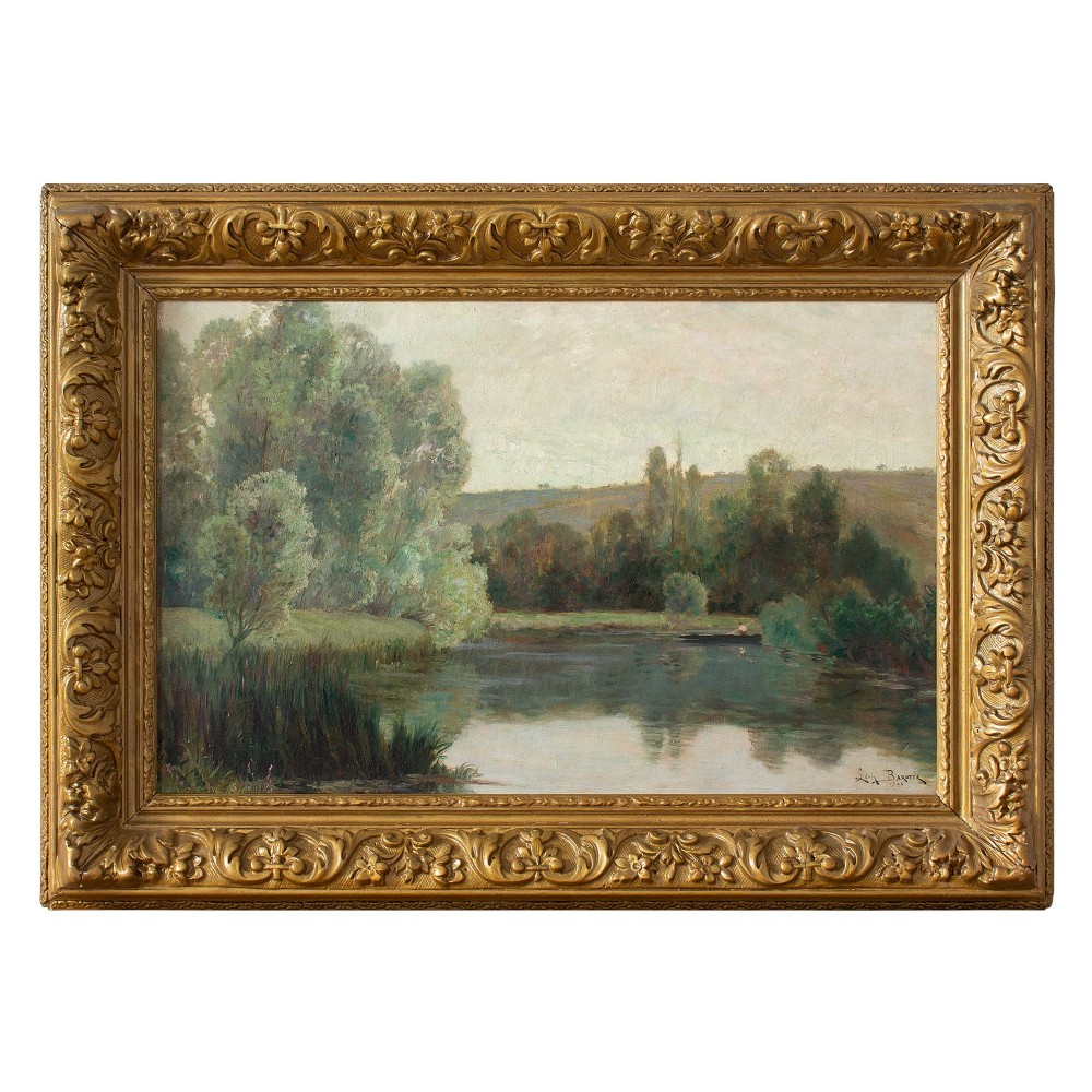 early 20th century oil painting leon barotte a morning view with fisherman lake