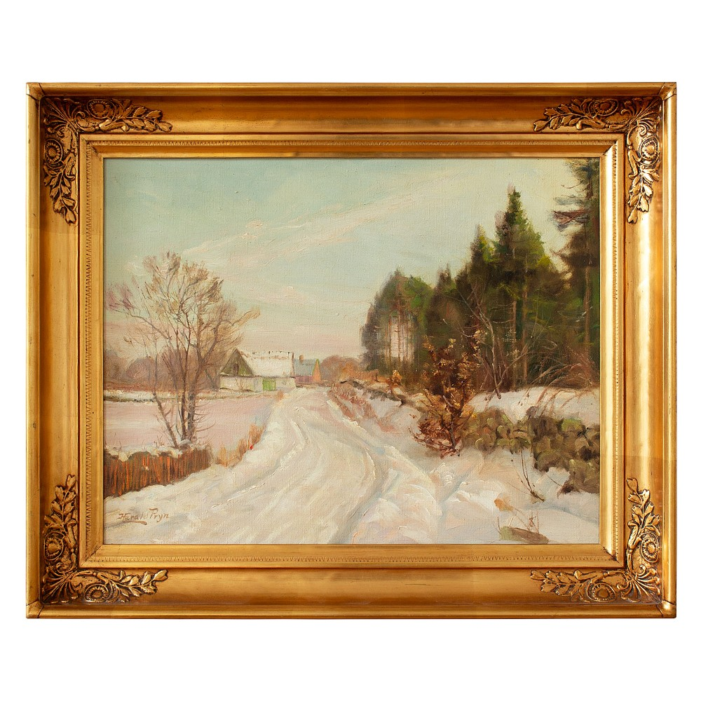 harald pryn winter landscape with track buildings oil painting