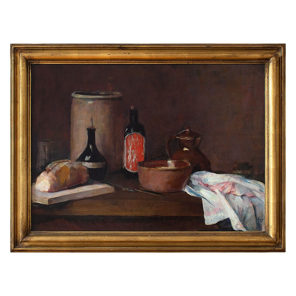 herman vedel still life with bread bottles bowls cloth oil painting