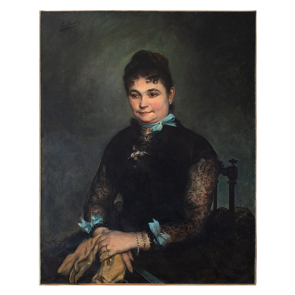 edgar boutry portrait of a lady with blue ribbons early 20thcentury oil painting