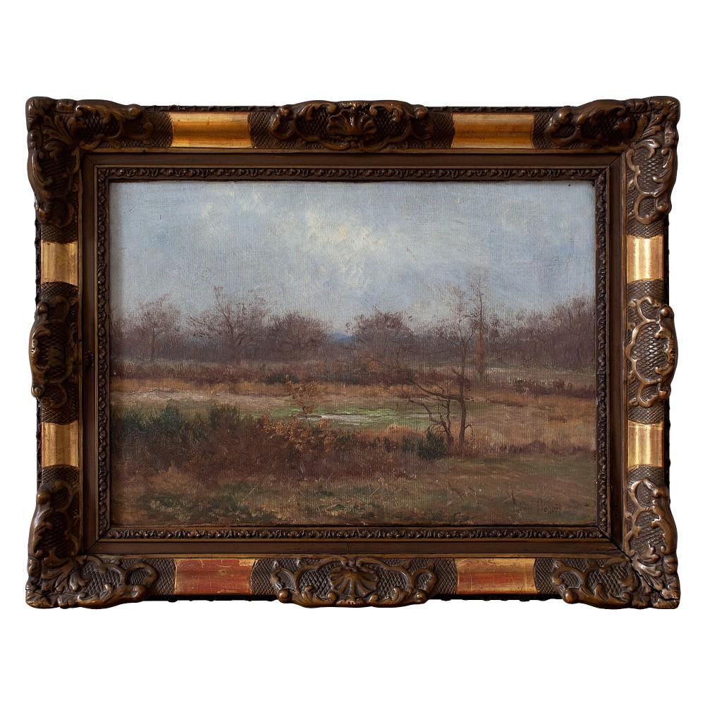leon marie benoit autumnal landscape with distant hills antique oil painting