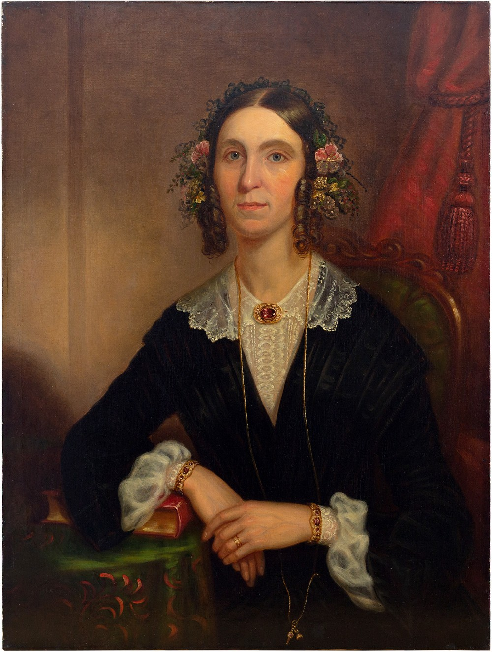 19thcentury british school portrait of a lady with a ruby necklace oil painting