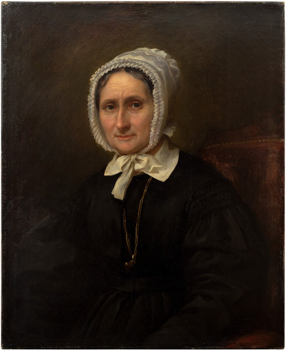 louise vaucorbeil rangbabut portrait of an older lady antique 19th century oil painting