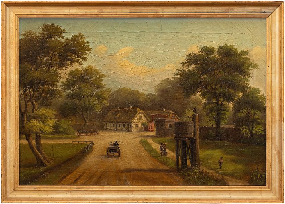 provincial 19thcentury landscape painting dyrehaven denmark antique oil painting