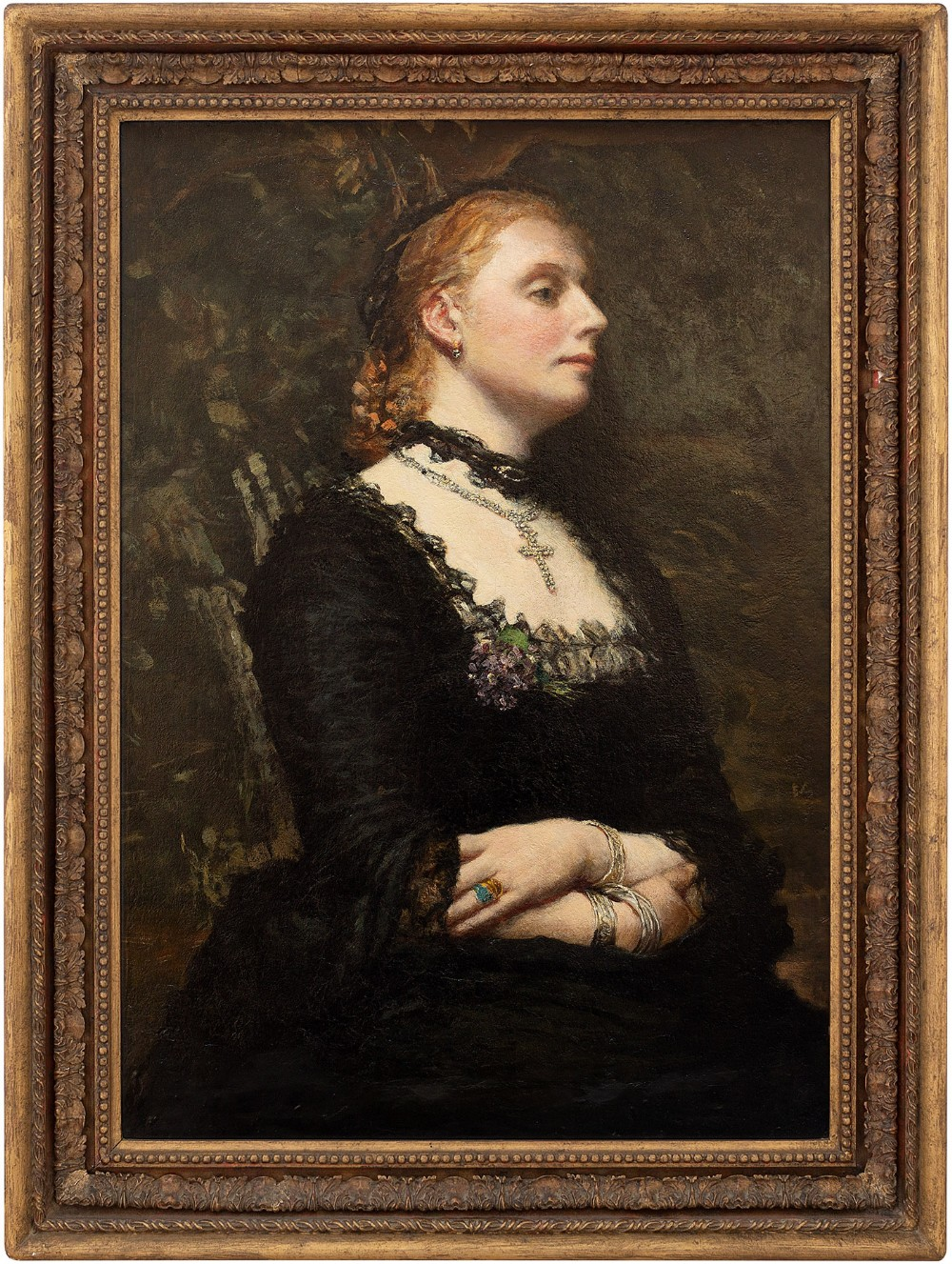 british school portrait of a lady in black