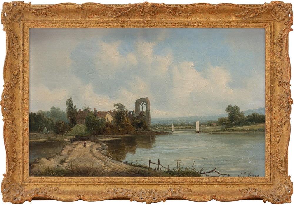 alfred h vickers river landscape with coastal path 19th century oil painting