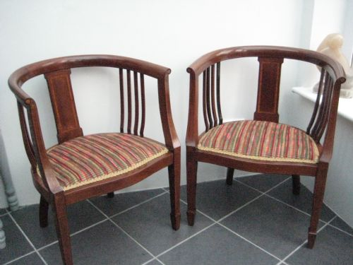 a pair of sheraton revival tub chairs inlaid mahogany c1890 - A Pair Of  Sheraton Revival - Antique Sheraton Furniture Antique Furniture