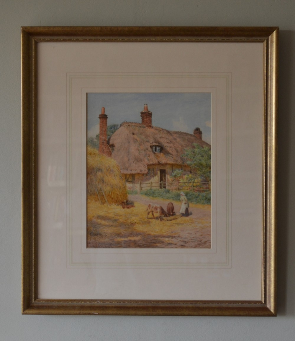joseph kirkpatrick 18721930 feeding the calves by the haystack c1900 watercolour