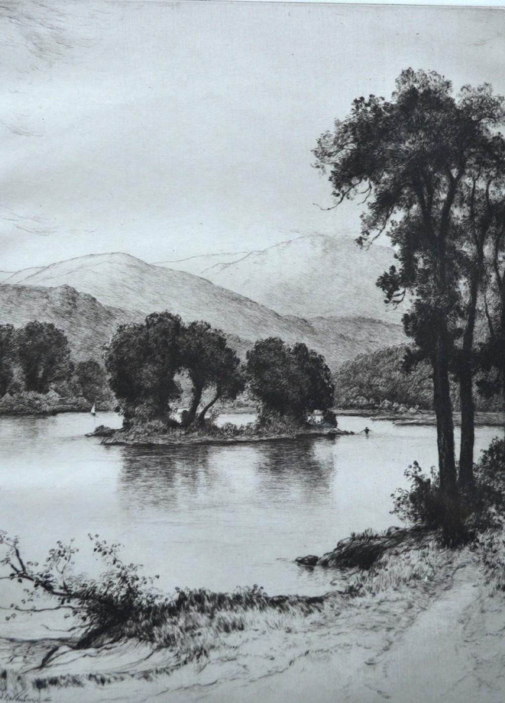 loch venachar scotland c1910 black white etching john fullwood 18541931 signed and titled