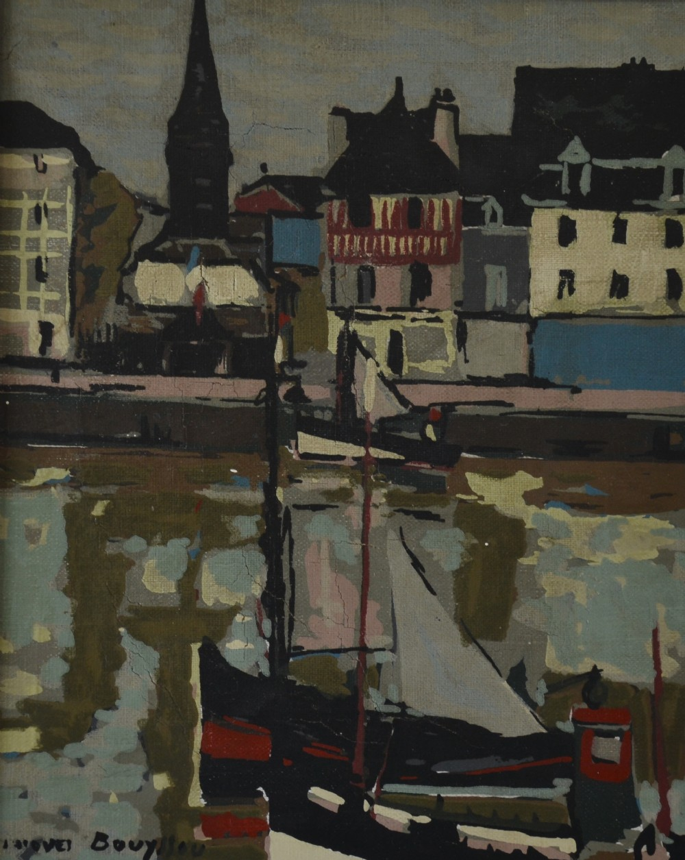 honfleur c1955 original oil on canvas jacques bouyssou french 19261997