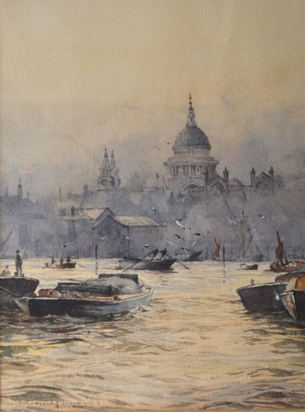 original watercolour st paul's cathedral from the thames c 1930 rowland langmaid 18971956