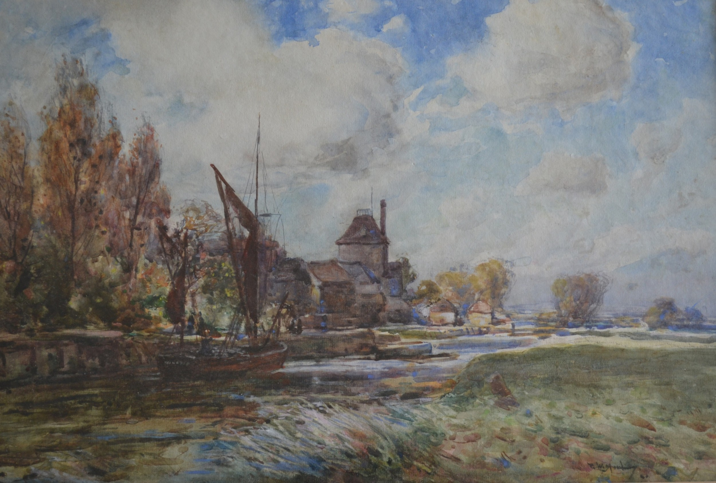 sailing barge on the river stour at sandwich watercolour c 1900 thomas w morley 18591925