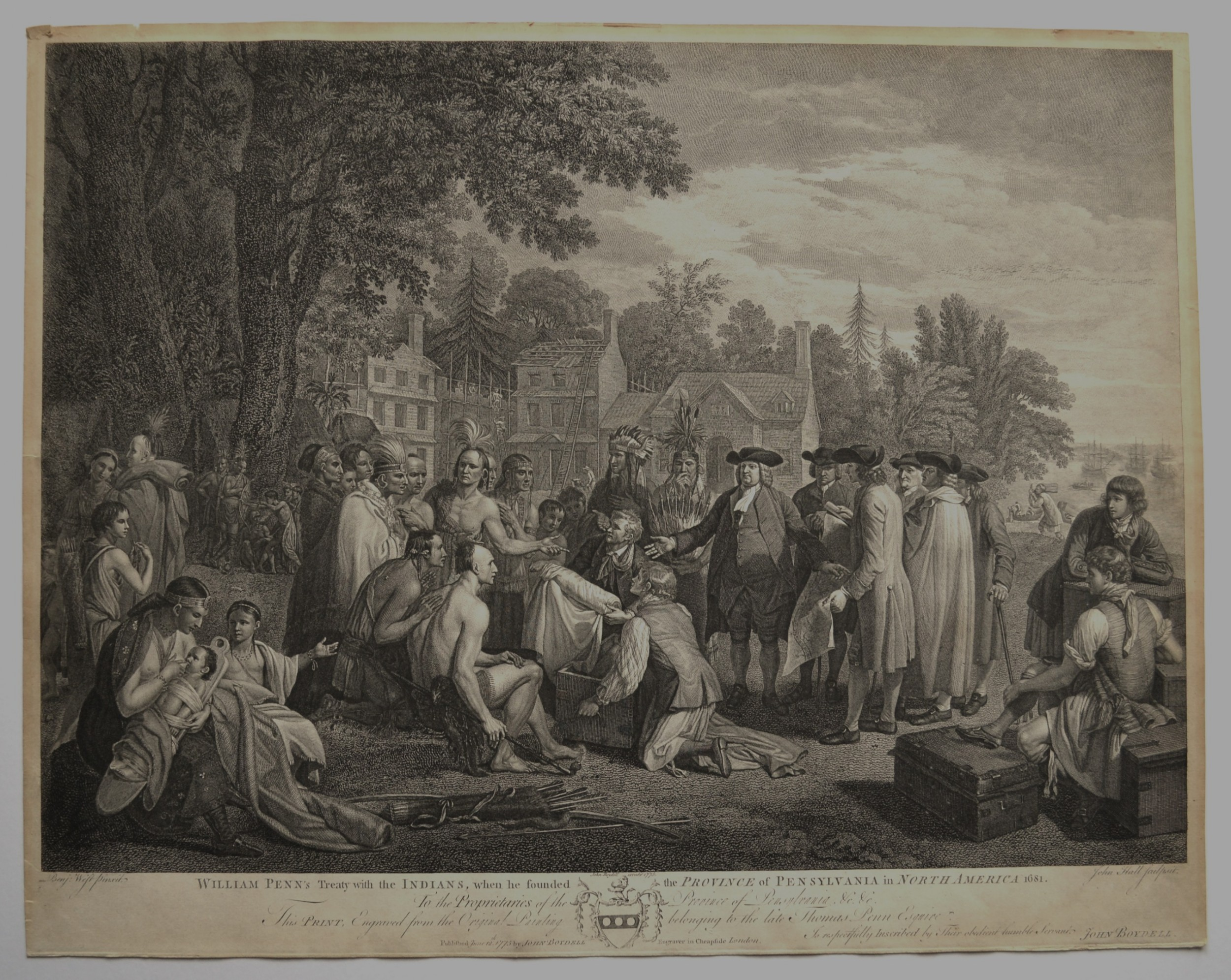 18th century copper engraving by john hall of william penn's treaty with the indians when he founded the province of pensylvania in north america 1681