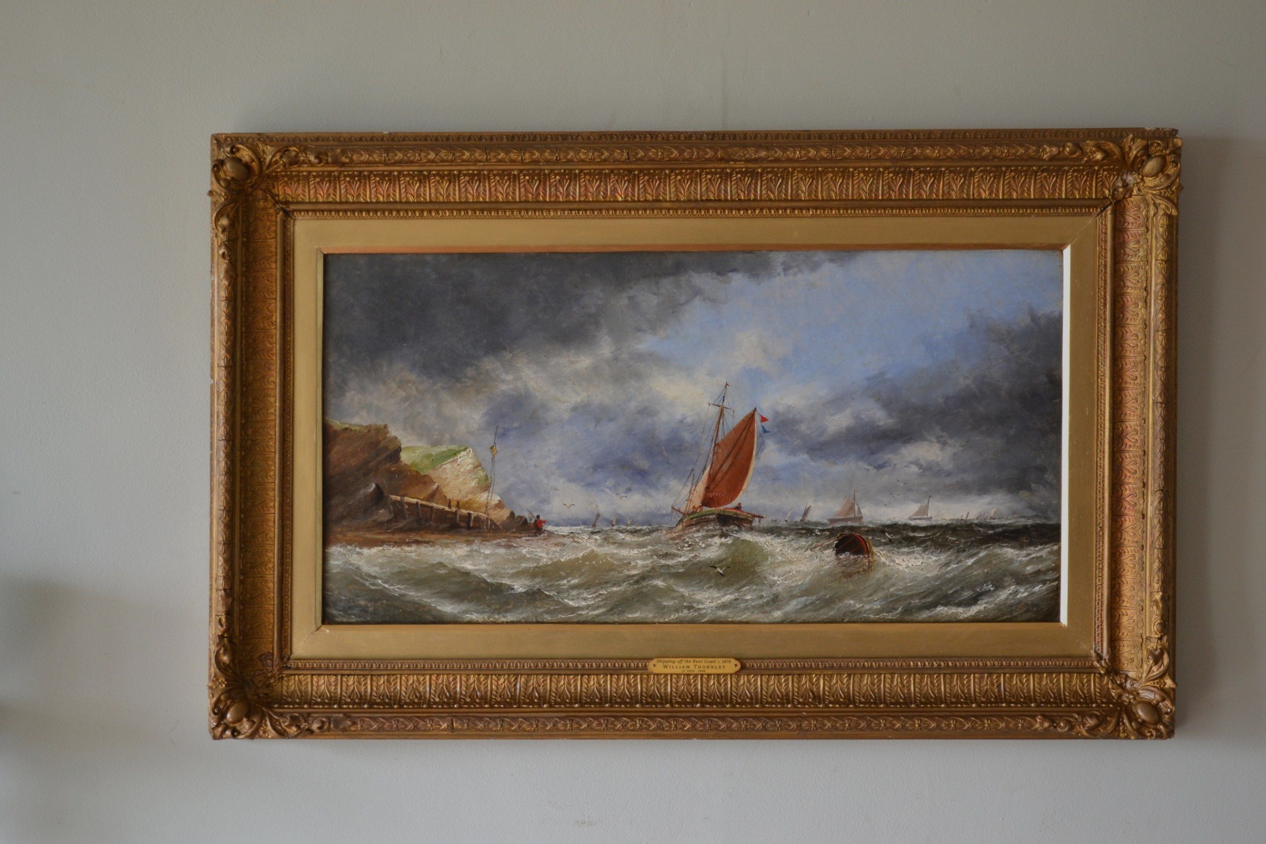 shipping off the kent coast c 1870 oil on canvas william thornley fl 18581898