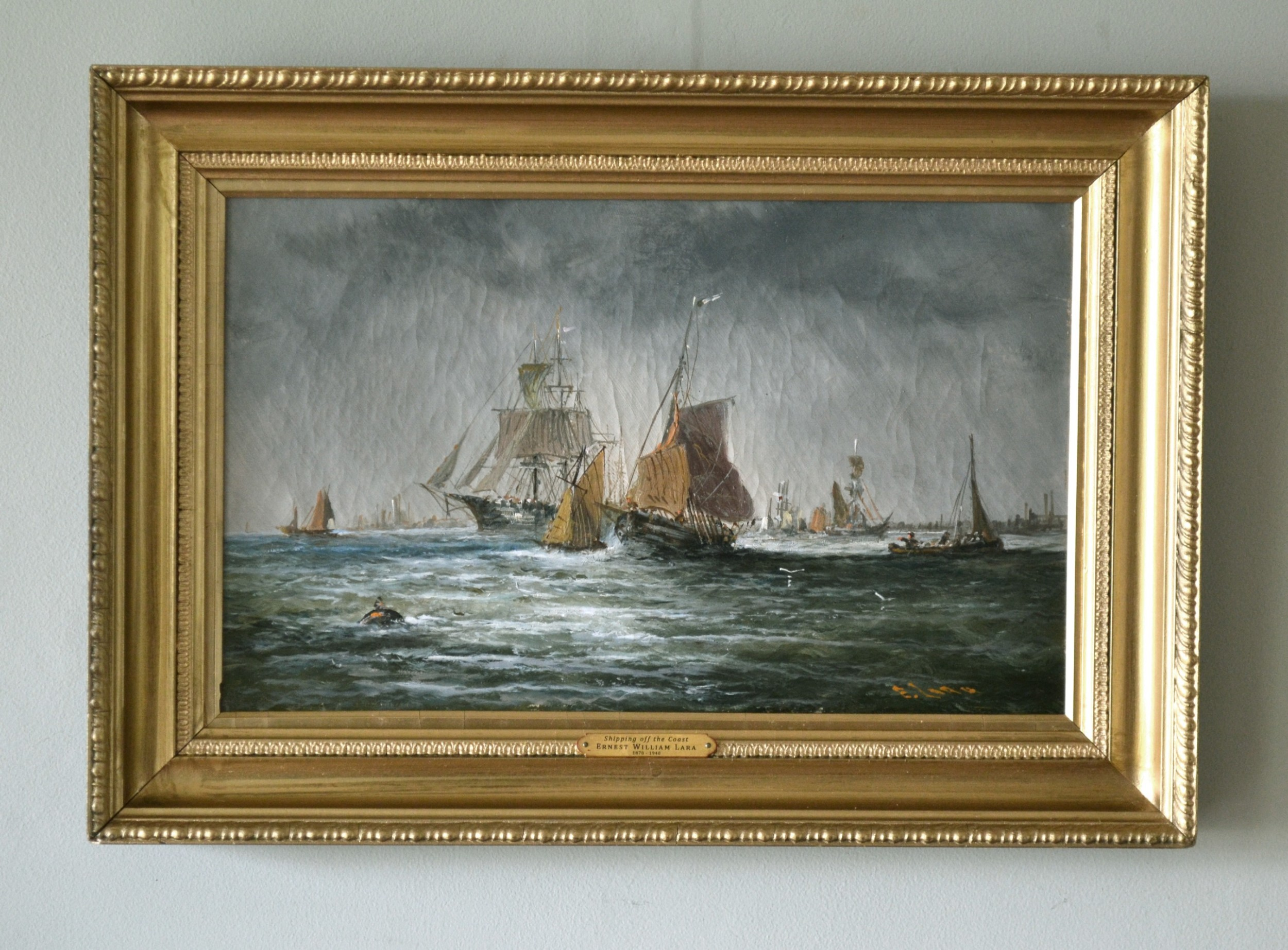 shipping off the coast c 1900 oil on canvas ernest william lara 18701940