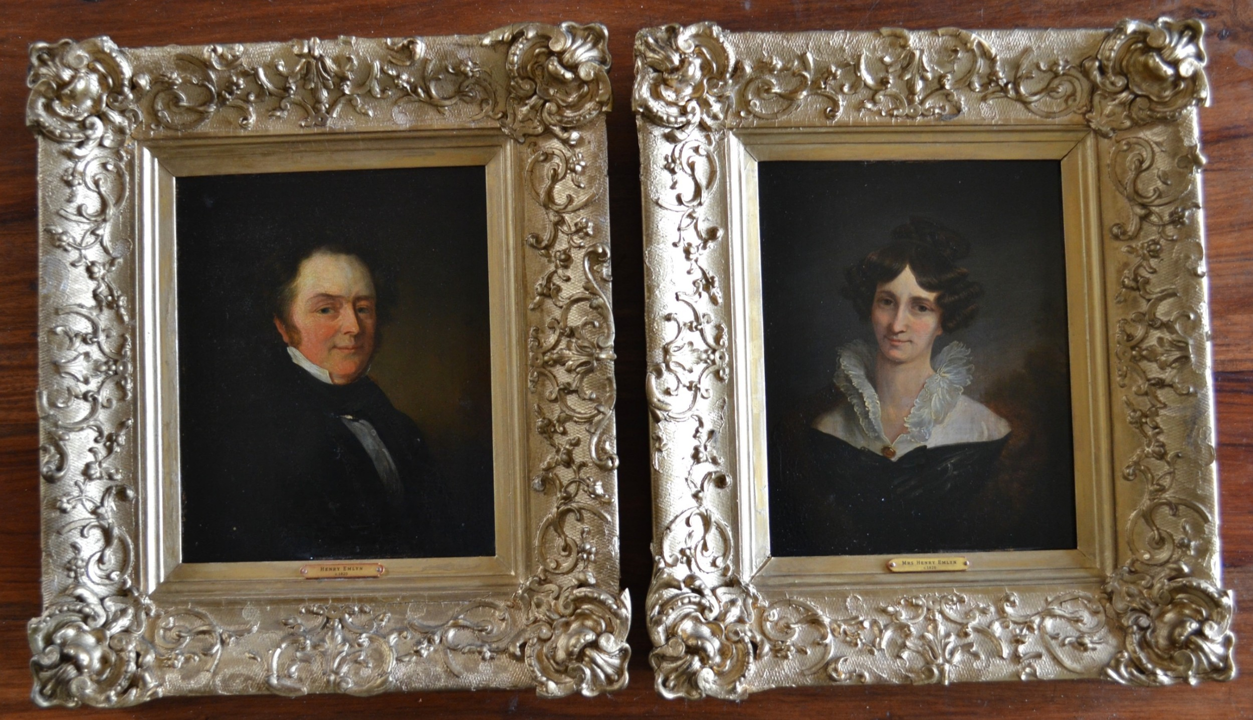 pair portraits small oils on panel c1820 mr and mrs henry emlyn