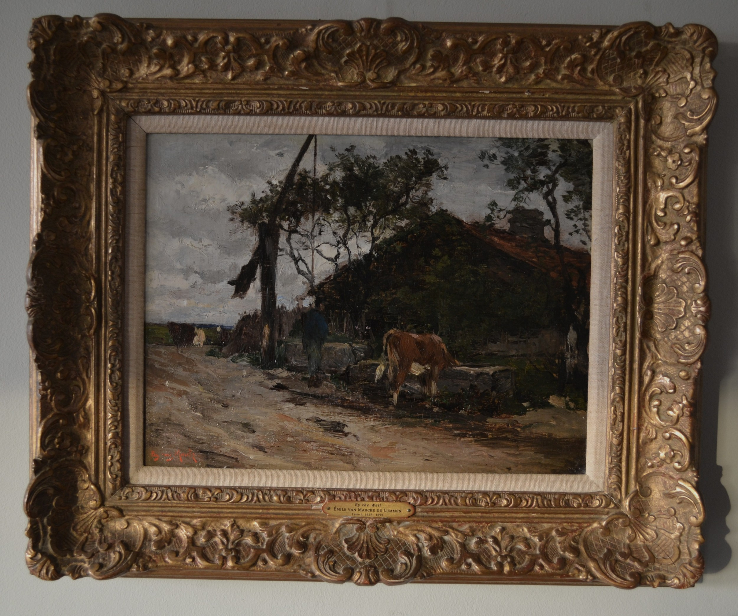 by the well mile van marcke de lummen french 18271890 oil on canvas on panel